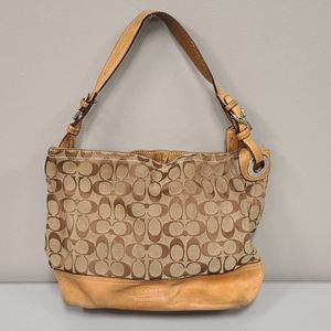 Coach 2156 tan Signature Fabric Leather Hobo Bag
